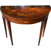 Vintage English Adam Style Mahogany Parquetry Demi-lune Side Table