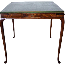 English Style Green Leather Top Mahogany Square Games Table