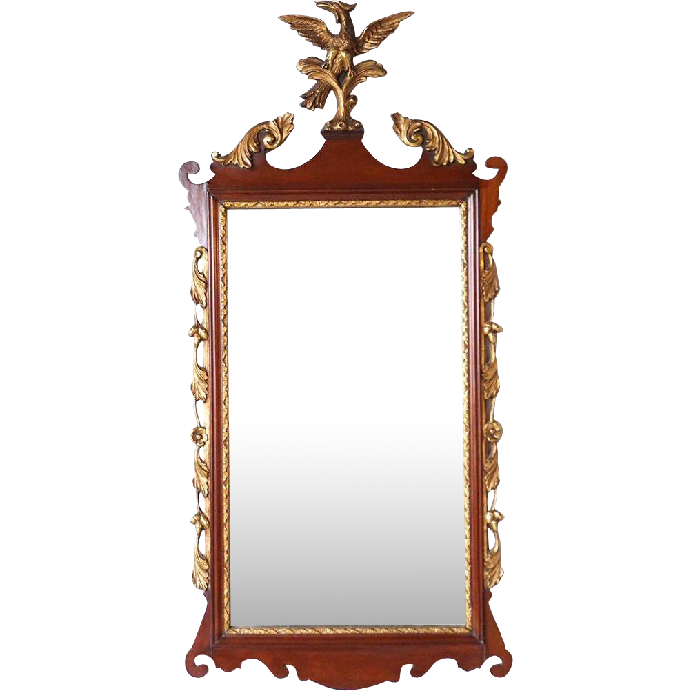 Vintage Chippendale Style Parcel Gilt Mahogany Eagle Crest Mirror