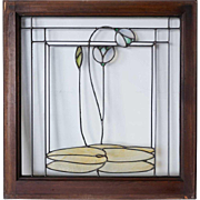 American George W. Maher Granville House Stained and Leaded Glass Square Window