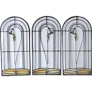 Set of 3 American George W. Maher Granville House Stained and Leaded Glass Arched Windows