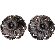 Large Pair of French Cast Iron Door Handles