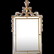 Vintage Adam Style Gilt Gesso Beveled Mirror