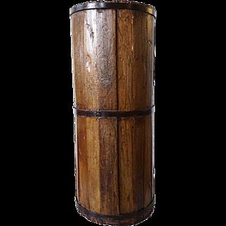 Primitive Staved Wooden Butter Churn Bucket