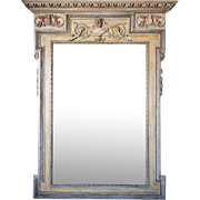 Large French Louis XVI Style Painted Trumeau Mirror