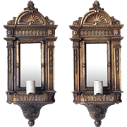 Pair of Brass Plated Mirrored One-Light Sconces