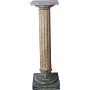 Swedish Painted Pine Faux-Marble Fluted Column Pedestal