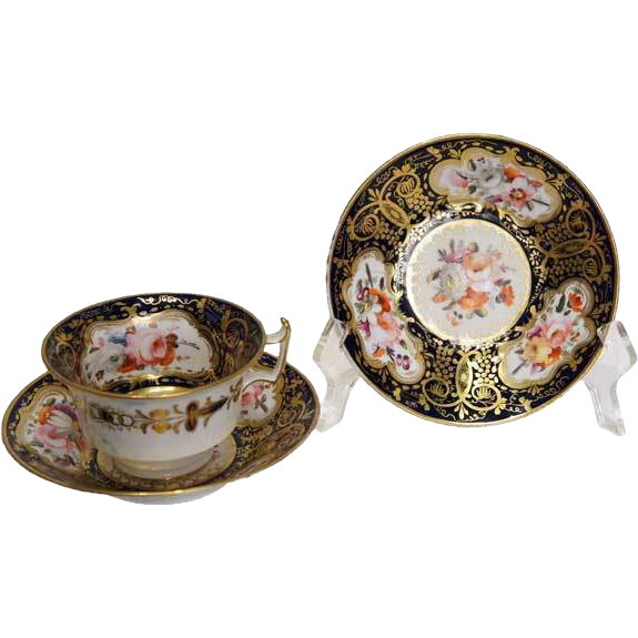 English Soft Paste Porcelain Tea Cup And 2 Saucers From