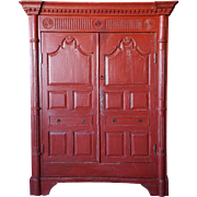 Irish George III Red Painted Pine Cupboard