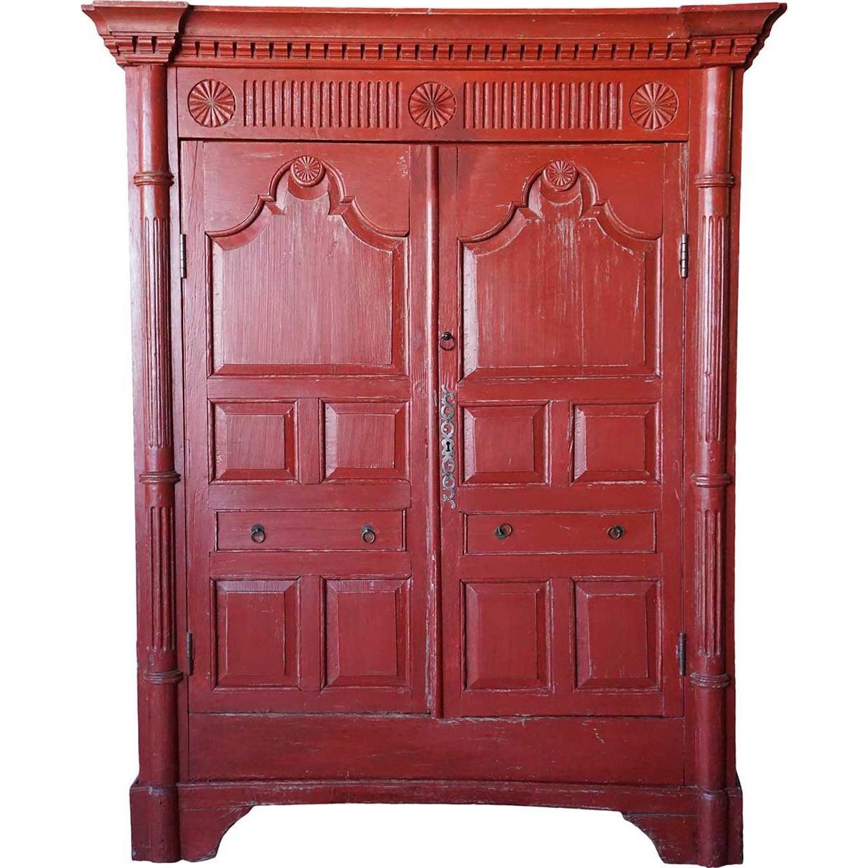 Irish George III Red Painted Pine Cupboard