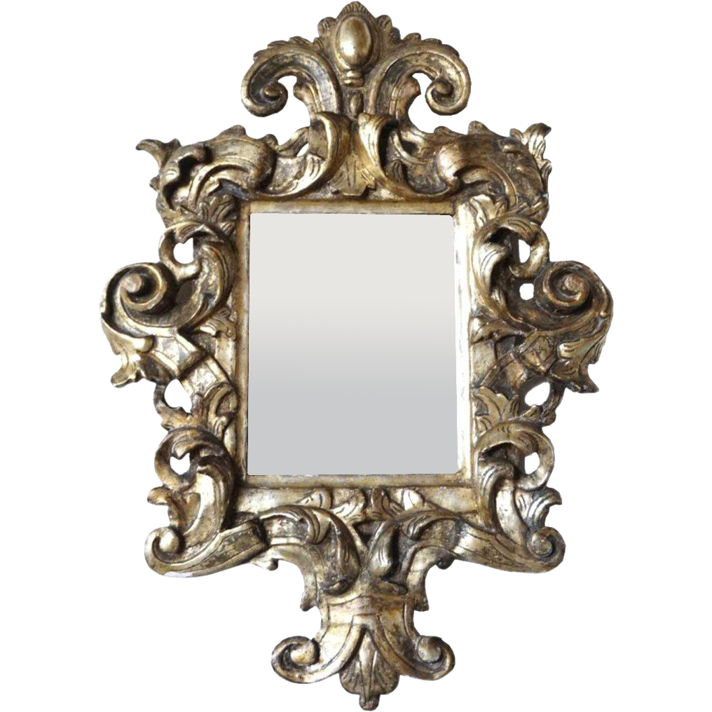 Italian 17th century style silver leaf pine wall mirror for 17th century mirrors