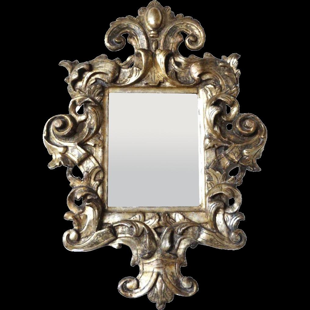 Italian 17th Century Style Silver Leaf Pine Wall Mirror