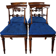 Set of Four Signed English Regency Rosewood Dining Side Chairs