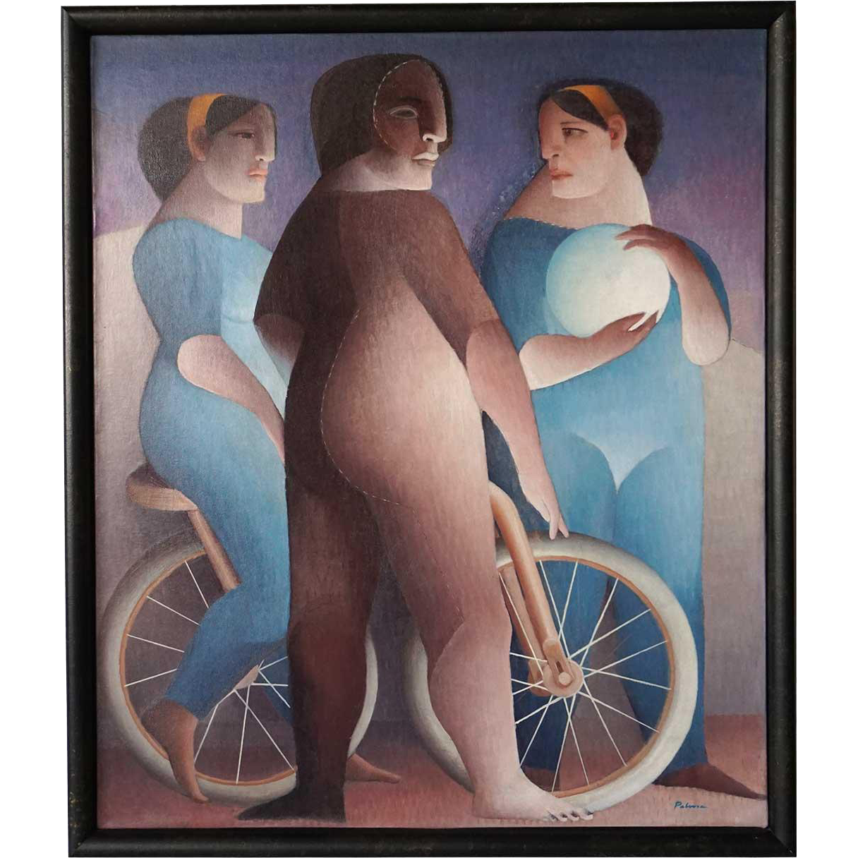 CARLOS PALMA TAPIA Oil on Canvas Painting, Bicycle
