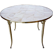 American William (Billy) Haines Onyx Top and Brass Klismos Round Games Table