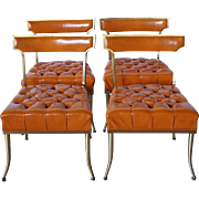 Set of Four American William (Billy) Haines Brass and Leather Tufted Klismos Dining Chairs