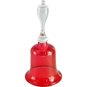 Large English Victorian Cranberry Glass Wedding Bell