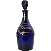 English George III Bristol Blue Glass Hollands Gin Decante
