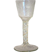 Early Swedish Double-Series Cotton Twist Engraved Wine Glass