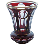 Bohemian Style Ruby Cut to Clear Parcel Gilt Glass Beaker