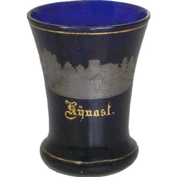 Bohemian Gilt Cobalt Souvenir Kynast Glass Beaker