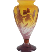 French EMILE GALLE Art Nouveau Cameo Bud Vase