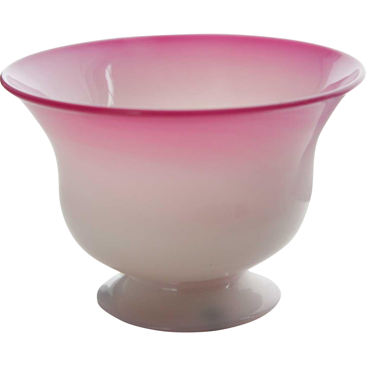 Small Victorian Pink and White Footed Glass Bowl