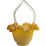 Victorian Mother-of-Pearl Satin Glass Diamond Pattern Basket