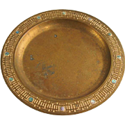 American Tiffany Bronze Dore and Abalone Plate