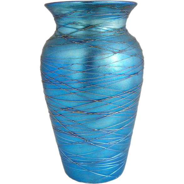 American Durand Blue Threaded Art Glass Vase