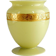 American Steuben Carder Period Art Deco Gilt and Yellow Jade Glass Vase - Unusual Color