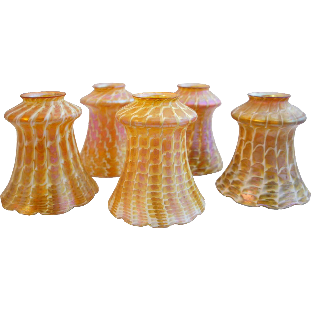 Set of Five American Quezal Art Nouveau Glass Snakeskin Lamp Shades