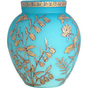English Jules Barbe for Thomas Webb Blue Satin Glass and Gold Enamel Vase