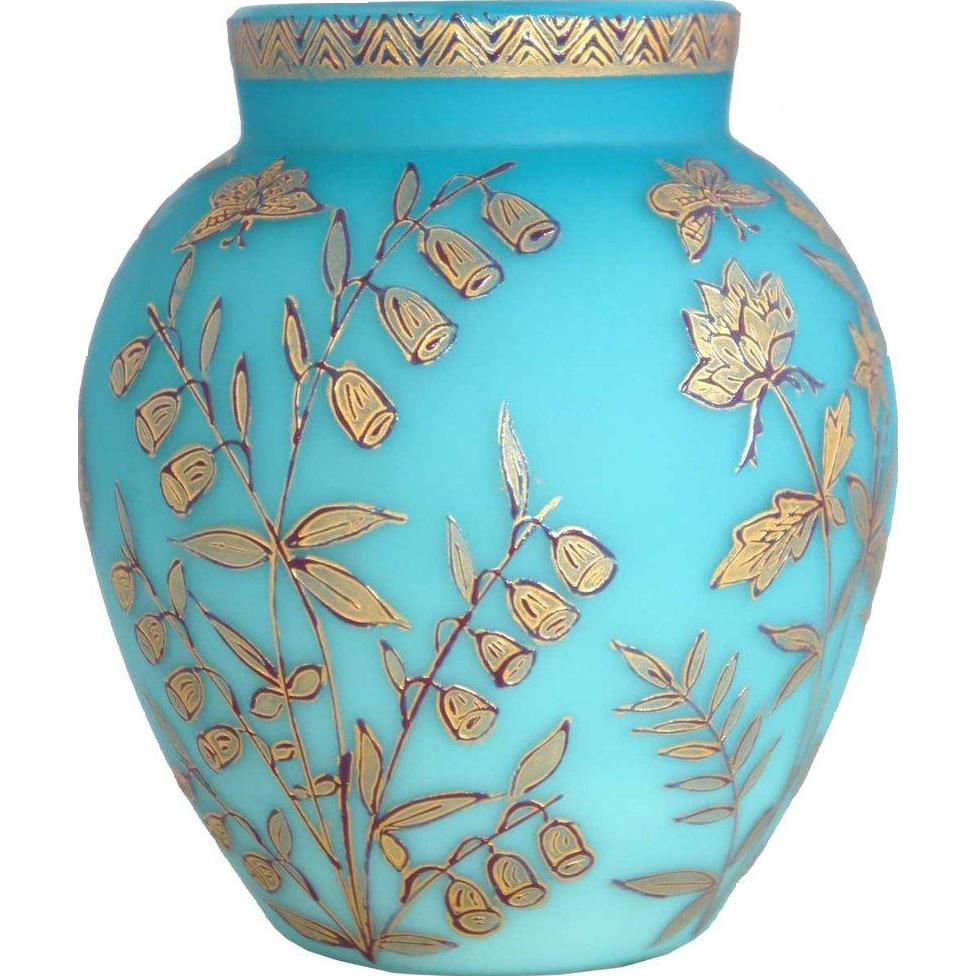 English Jules Barbe for Thomas Webb Blue Satin Glass and Gold Enamel Vase