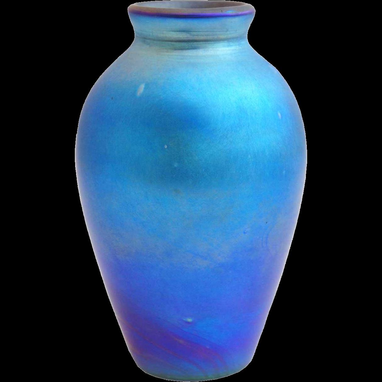 American Blue Iridescent Art Glass Vase Lamp Base