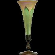 Large American Tiffany Studios Bronze Mounted Favrile Glass Trumpet Vase