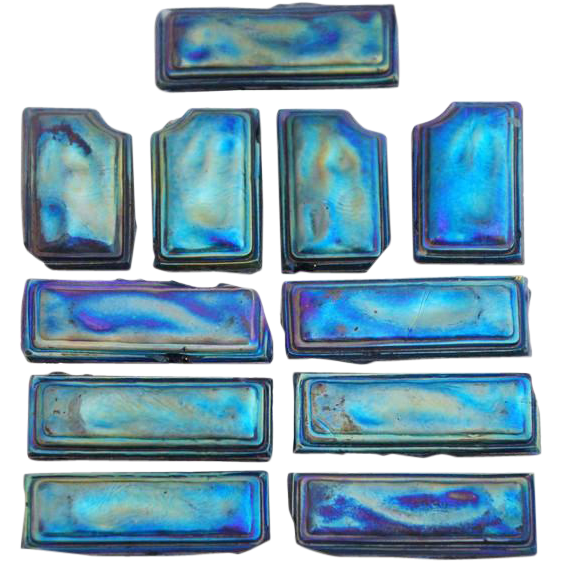 11 American Tiffany Studios Favrile Glass Iridescent Blue Tiles