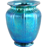 Steuben Carder Period Blue Aurene Art Glass Shade Form Vase