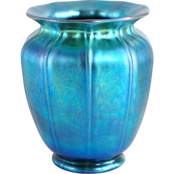 American Steuben Carder Period Blue Aurene Art Glass Shade Vase
