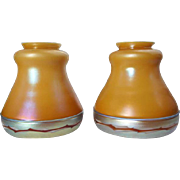 Rare Signed Pair of American Steuben Intarsia Applied Border Glass Lamp Shades