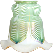 American Quezal Art Nouveau Green Feather Art Glass Shade
