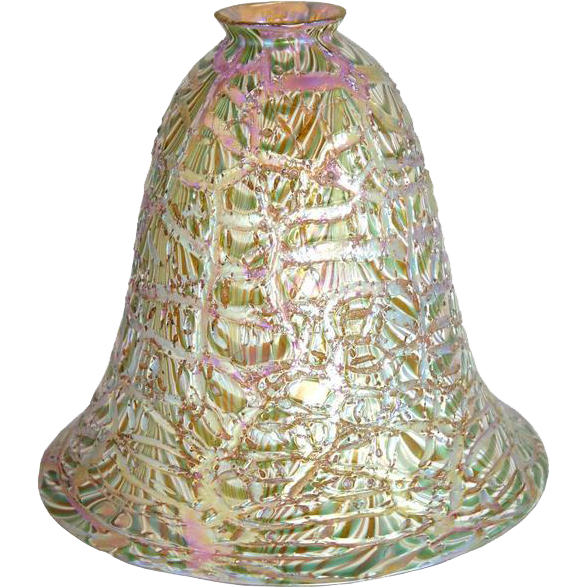 Scarce Large American Durand Moorish Crackle Art Glass Shade