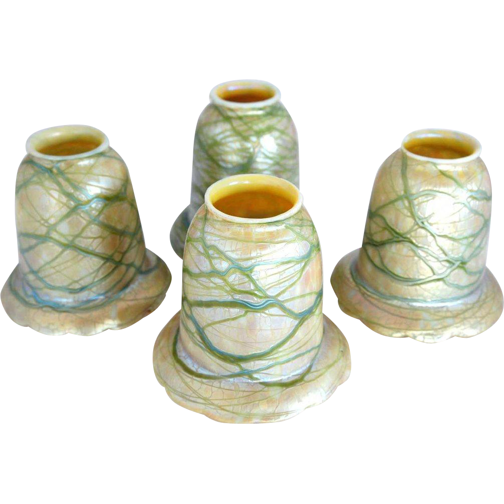 Set of Four Austrian Loetz Art Nouveau Glass Shades