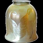 American Tiffany Studios Reactive Glass Double Hook Pattern Lamp Shade