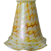 American Fostoria Art Glass Gold Zipper Pattern Lamp Shade