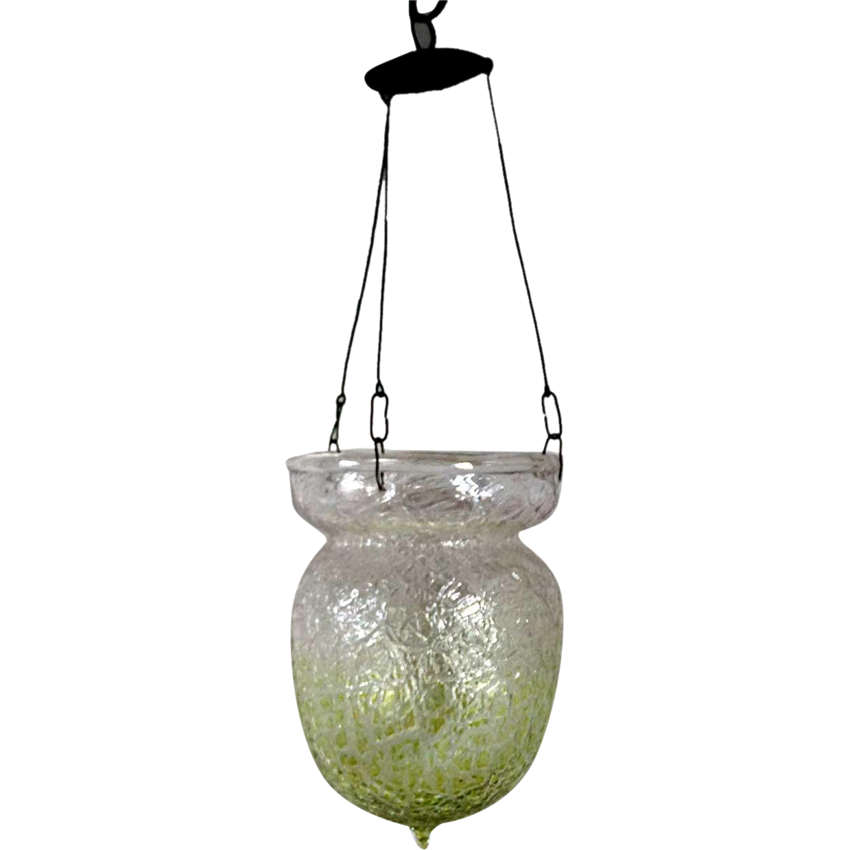 Large Continental Art Glass Crackle Pattern Lamp Shade