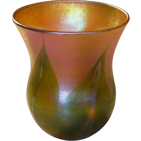 American Tiffany Art Nouveau  Glass Cabinet Miniature Bud Vase