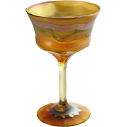 American Tiffany Studios Art Glass Bright Cut Stemware