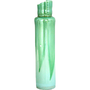 American Tiffany Studios Green Pulled Feather Art Glass Lamp Part