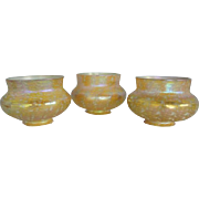 Set of Three American Quezal Iridescent Gold Decorated Art Glass Lamp Shades